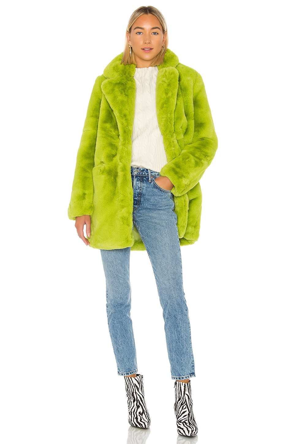 Apparis Sophie Faux Fur Coat in Neon Green