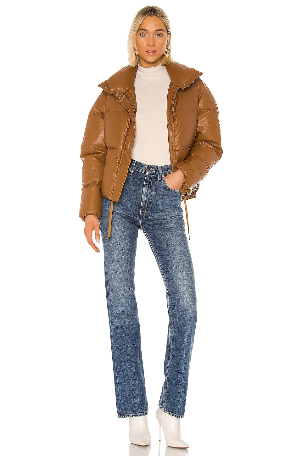 Apparis Camila Vegan Leather Puffer Jacket in Camel