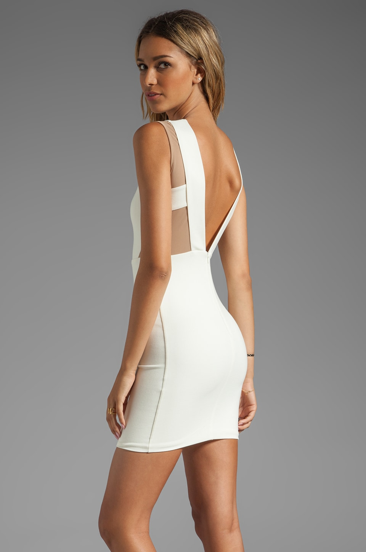 AQ/AQ Bonnie Mini Dress in Cream/Nude