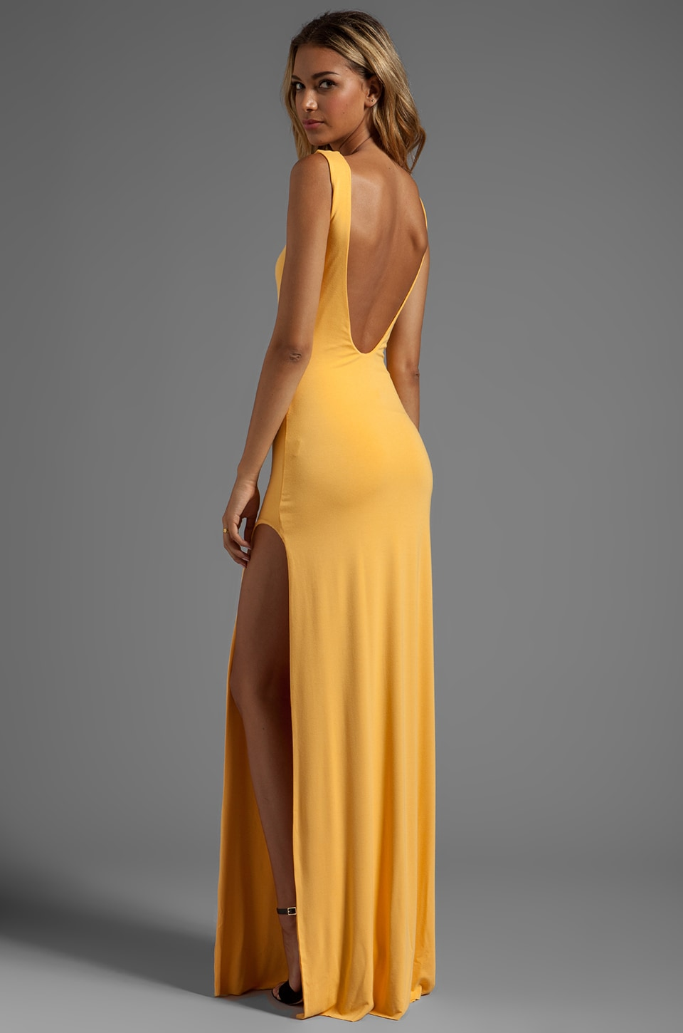 AQ/AQ Clutch Maxi Dress in Apricot
