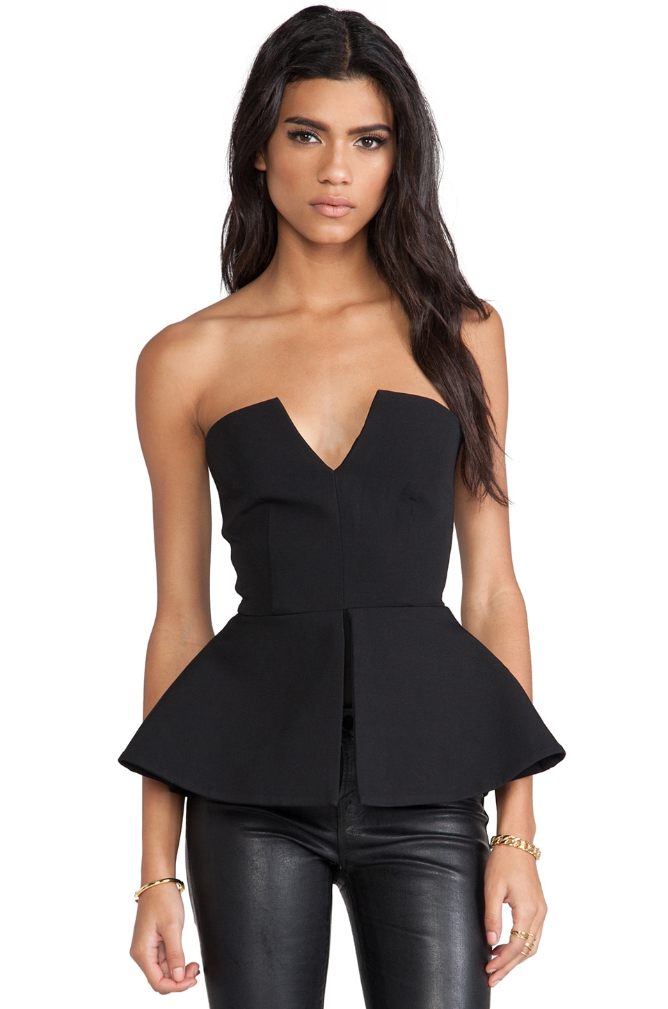AQ/AQ Scavo Sleeveless Bodysuit w/ Peplum in Black