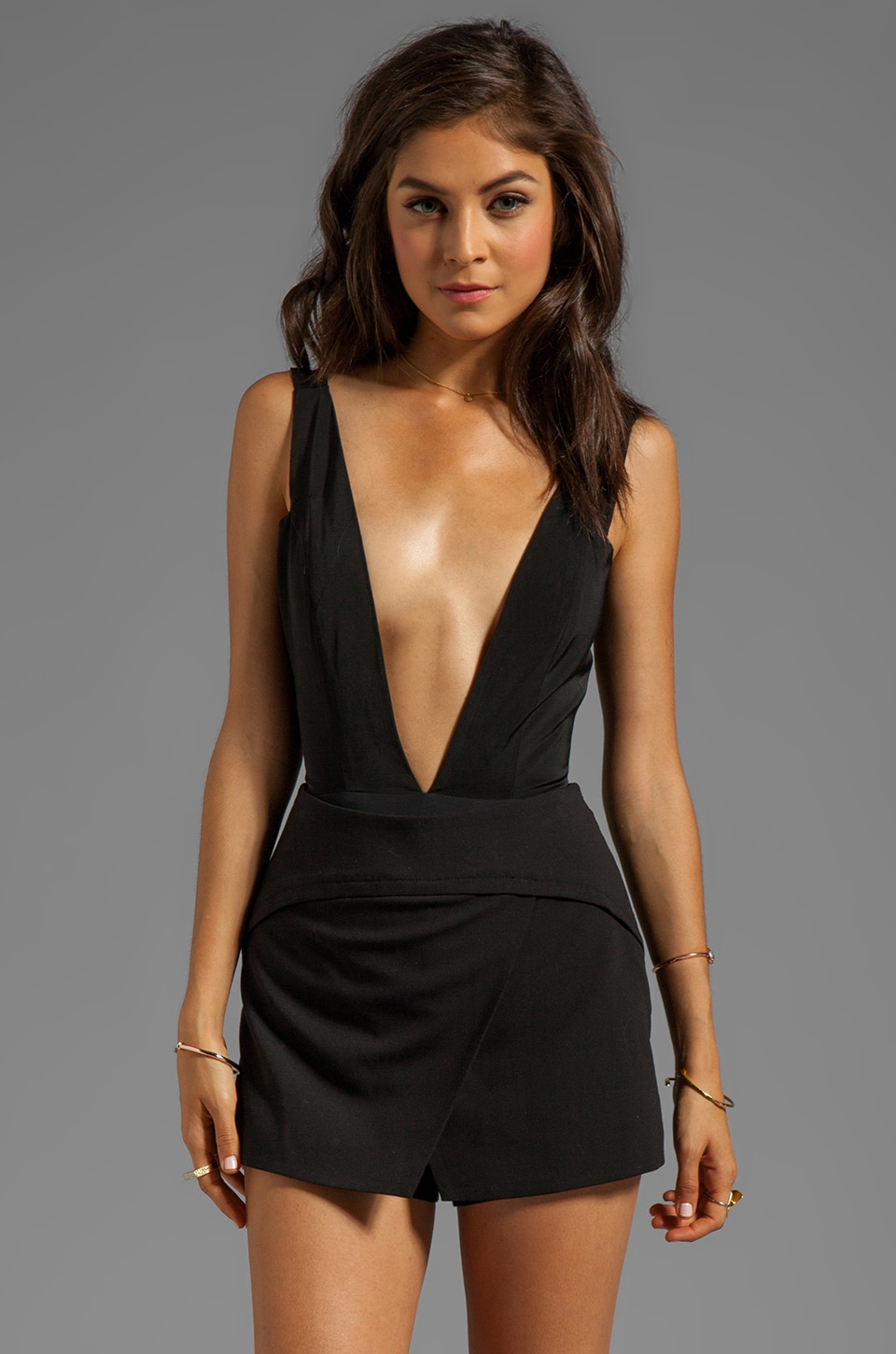 AQ/AQ Hackford Plunge Neck Bodysuit in Black