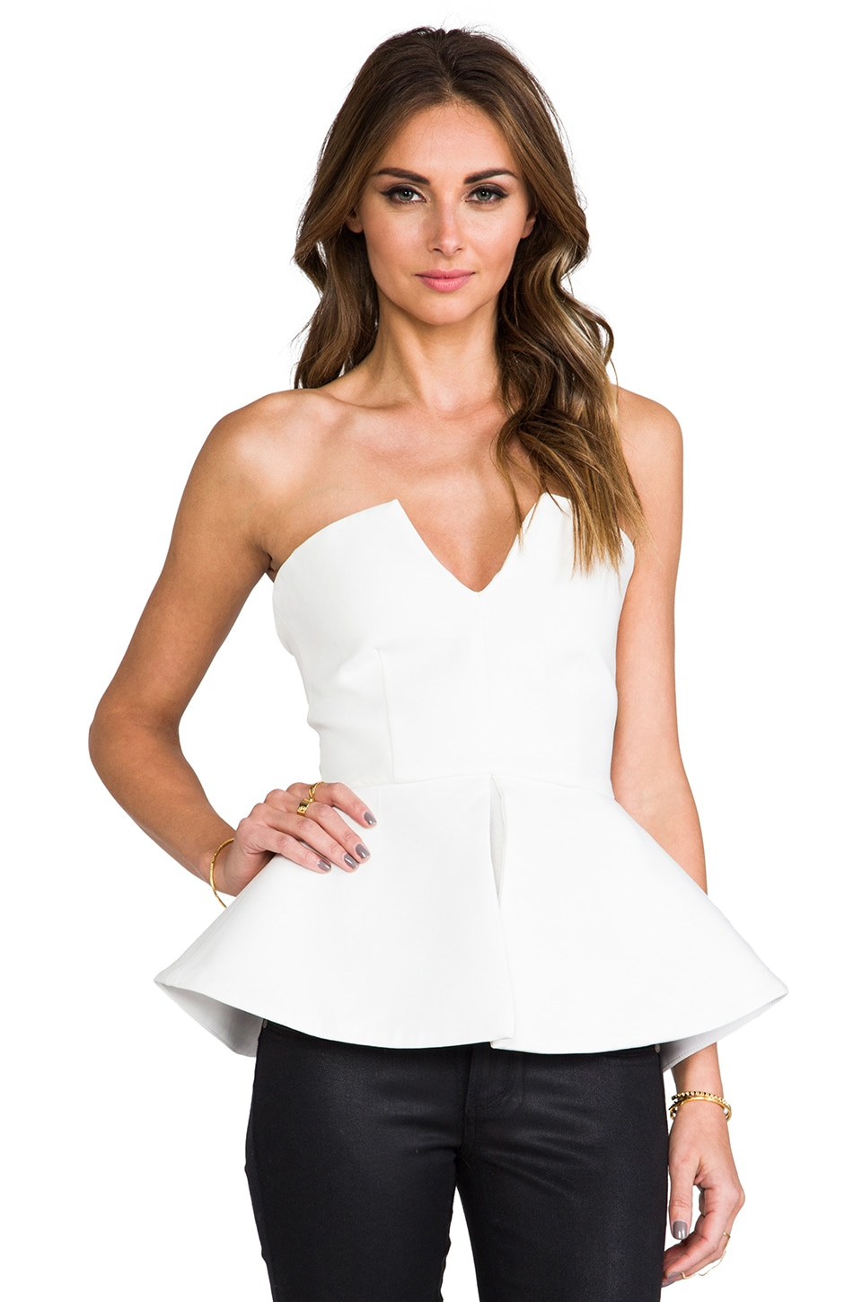AQ/AQ Scavo Sleeveless Bodysuit w/ Peplum in Cream