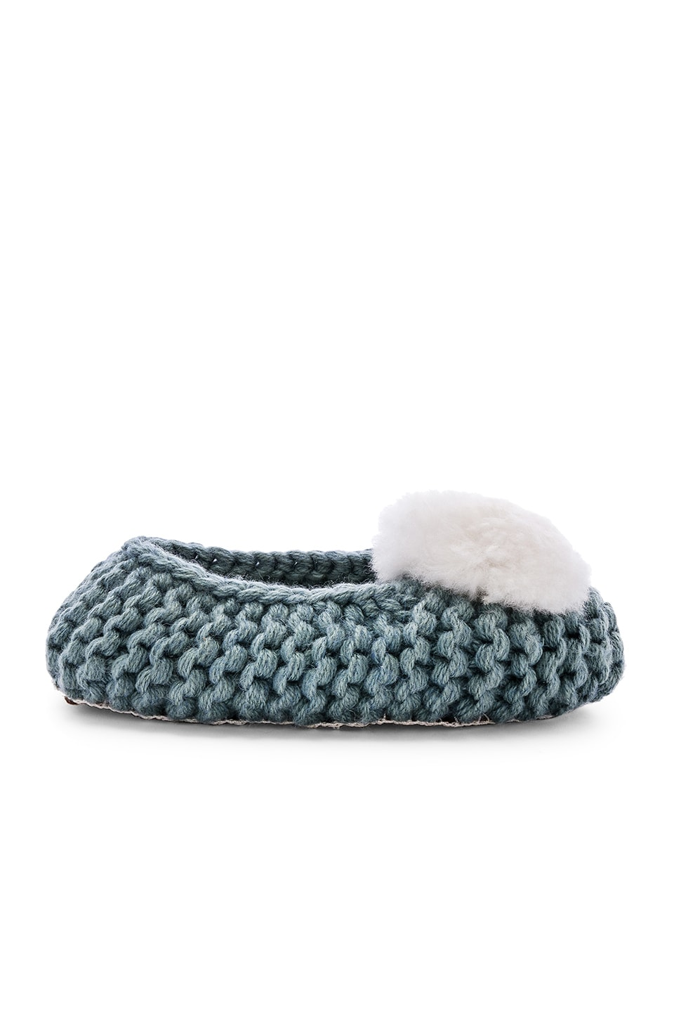 ARIANA BOHLING Ballerina Fur Pom Slipper in Green