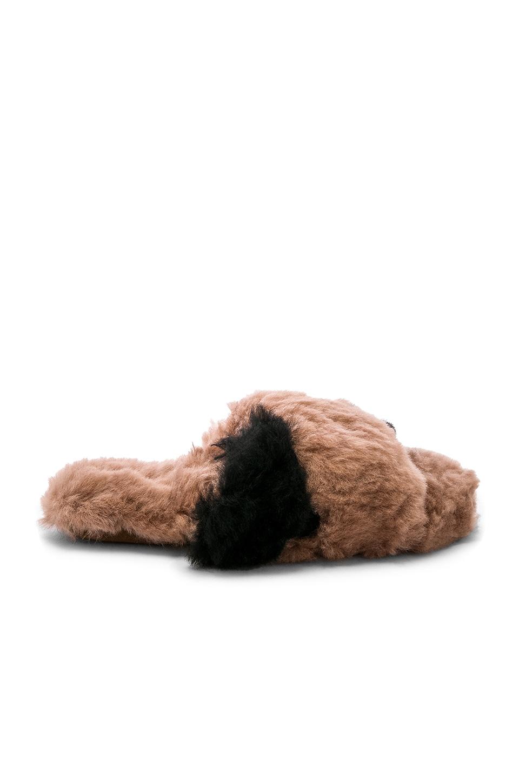 Criss Cross Color Block Fur Slipper