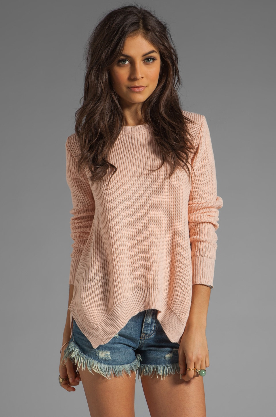 Ash-Rain-Oak Pansy Oversized Crewneck in Petal