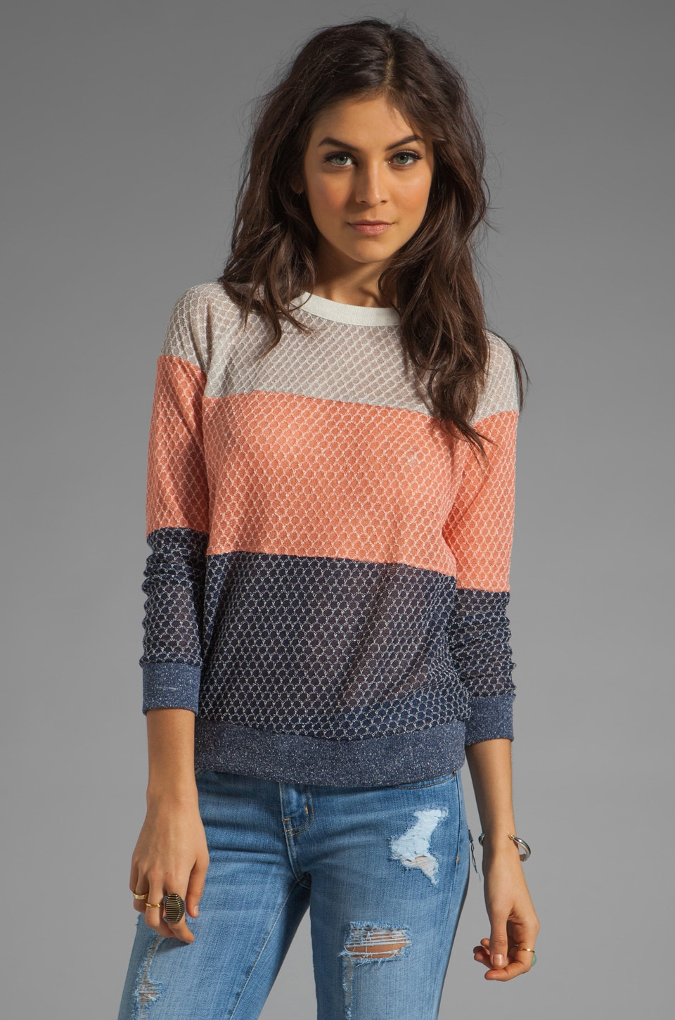 Ash-Rain-Oak Calla Colorblock Crewneck in Petal Stripe