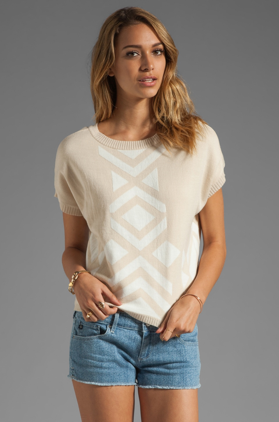 Ash-Rain-Oak Ynez Short Sleeve Intarsia Sweater in Oatmeal