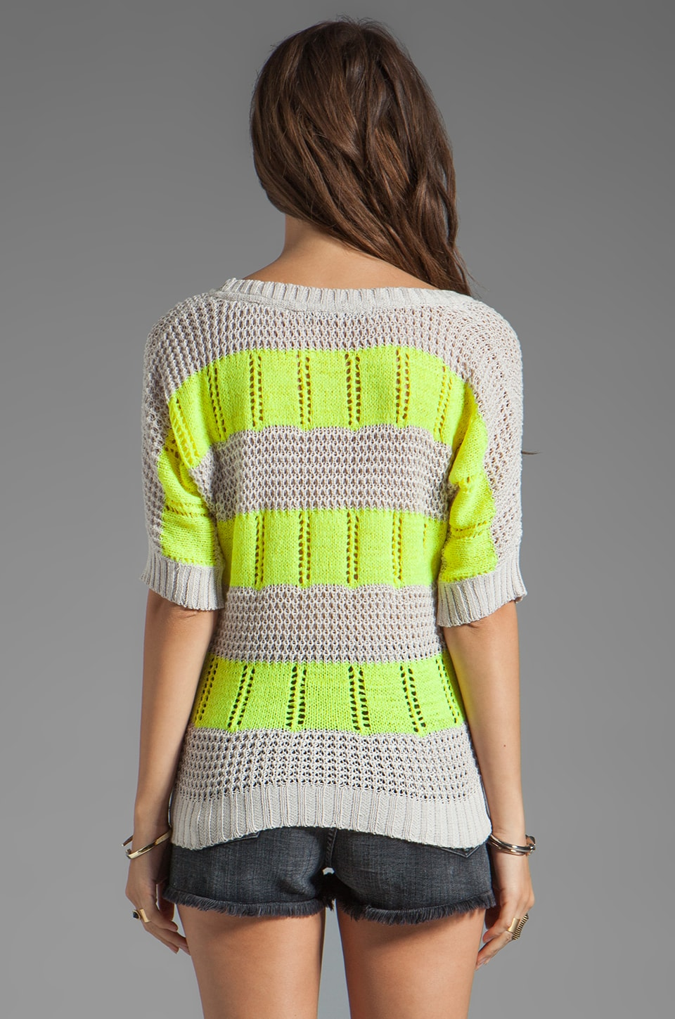 Ash-Rain-Oak Penny Knit Stripe Top in Oyster Stripe