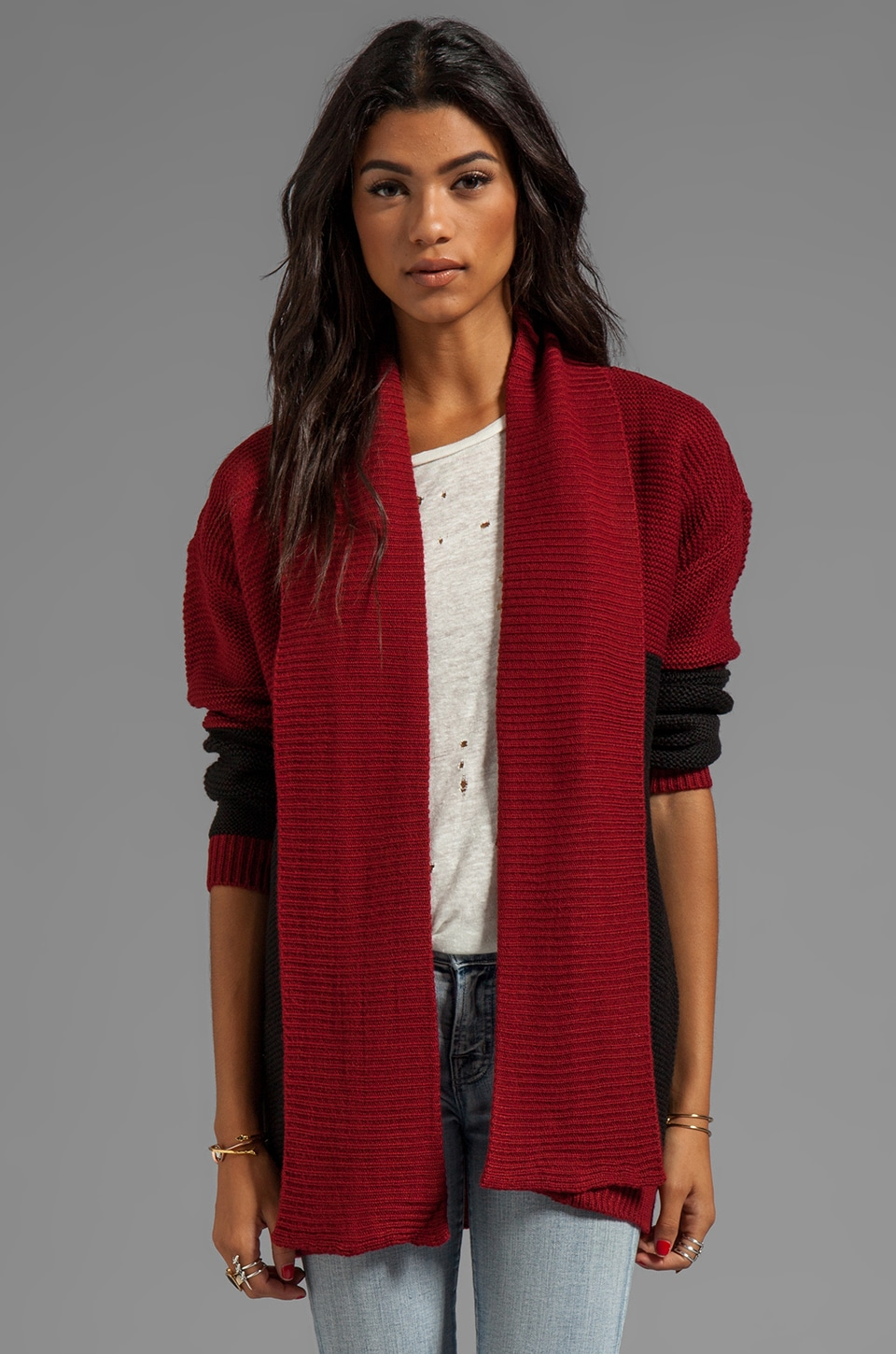 Ash-Rain-Oak London Cardigan in Oxblood/Black