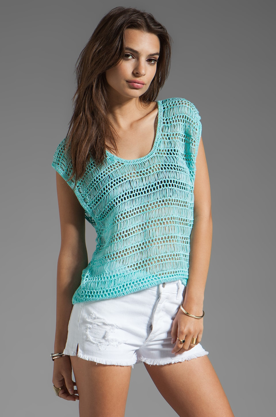 Ash-Rain-Oak Tory Cut Out Tank in Cyan Multi