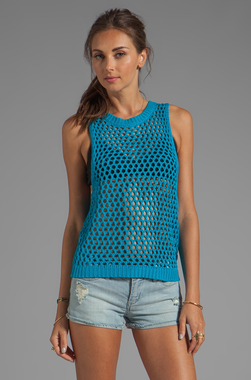 Ash-Rain-Oak Dawn Knit Muscle Tank in Electric Blue