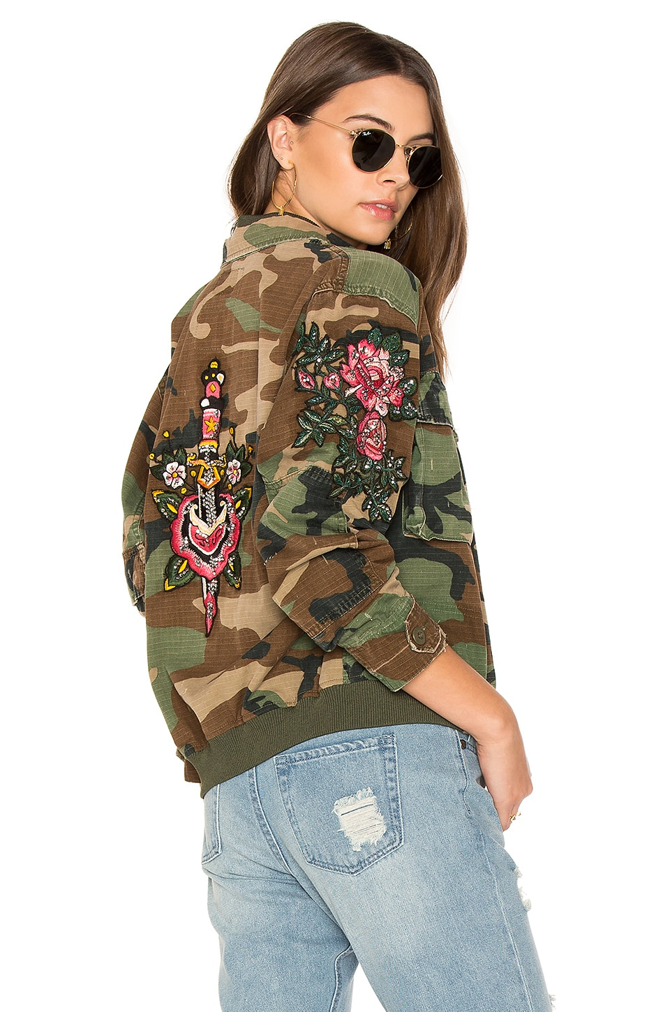 AS65 Embroidered Bomber in Army