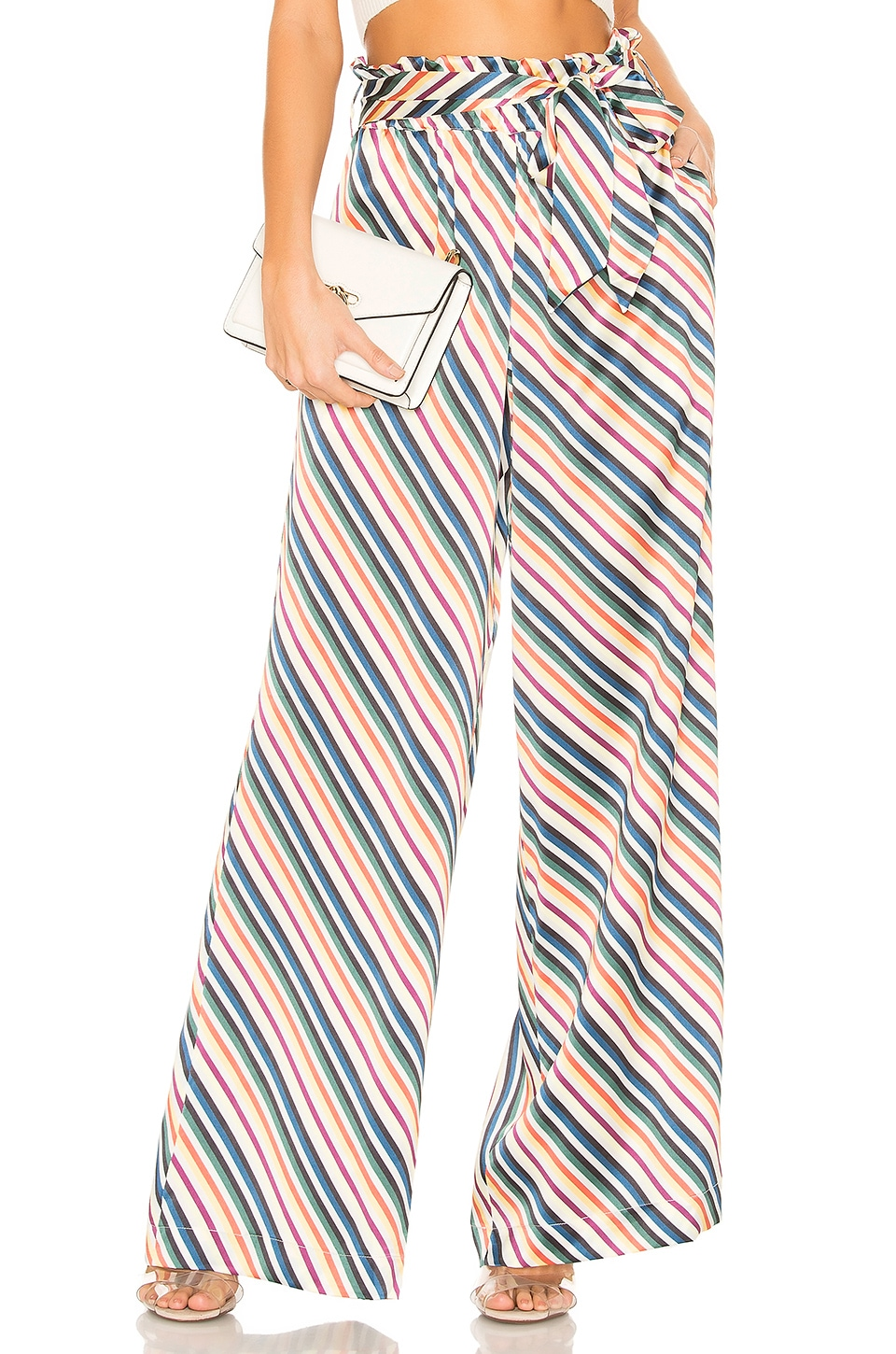 ASCENO Wide Leg Trouser in Multi Diagonal Stripe