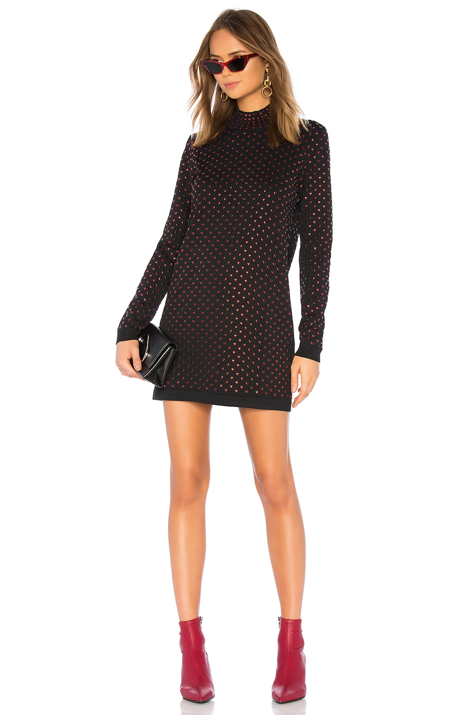 Adam Selman Sport Mock Neck Mini Dress in Black