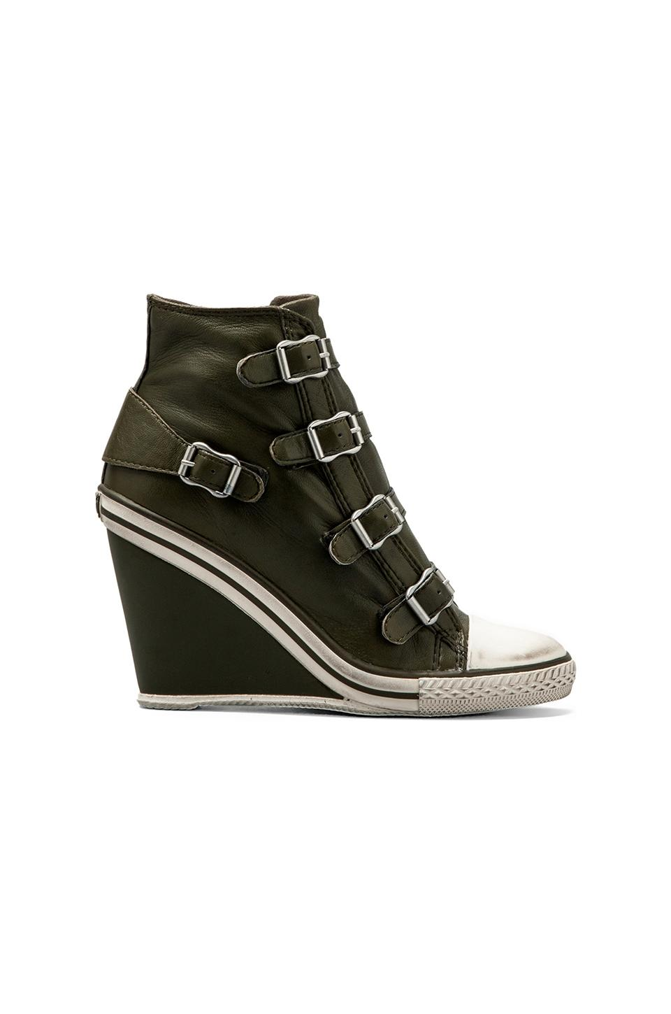 Ash Thelma Wedge Buckle Sneaker in Military