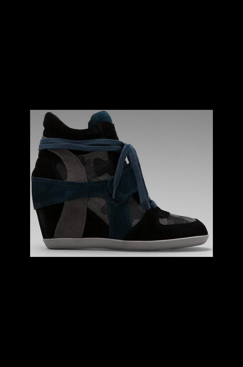 Ash Bowie Bis Wedge Sneaker in Black/Smoke