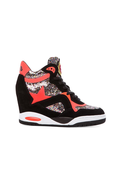 Ash Bling Sneaker in Black & Fluo Peach