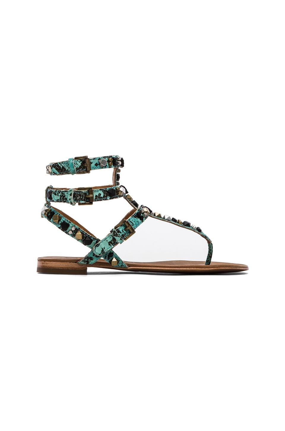 Ash Mambo Sandals in Turquoise & Black & Antic Silver & Antic Gold