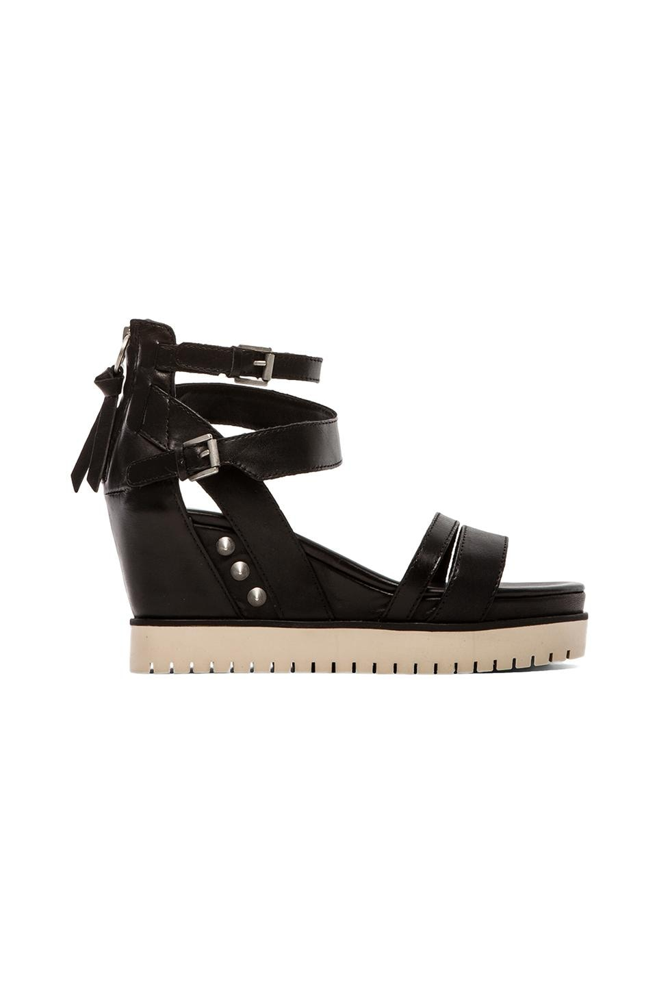 Ash Penelope Sandal in Black & Antic Silver & Off White