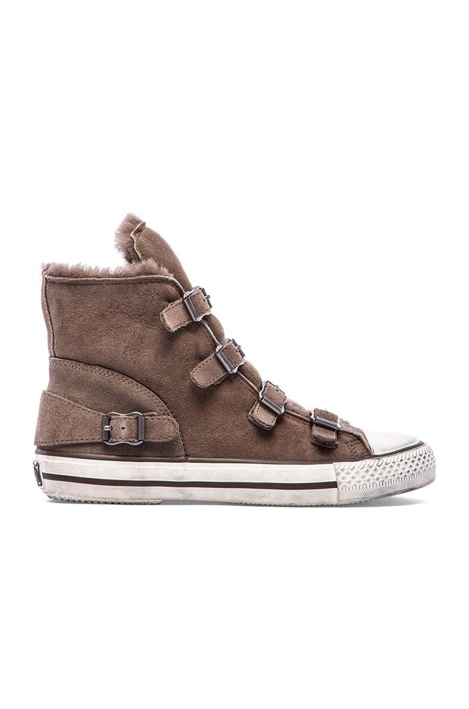 Ash Virginy Sneaker with Lamb Fur in Elephant