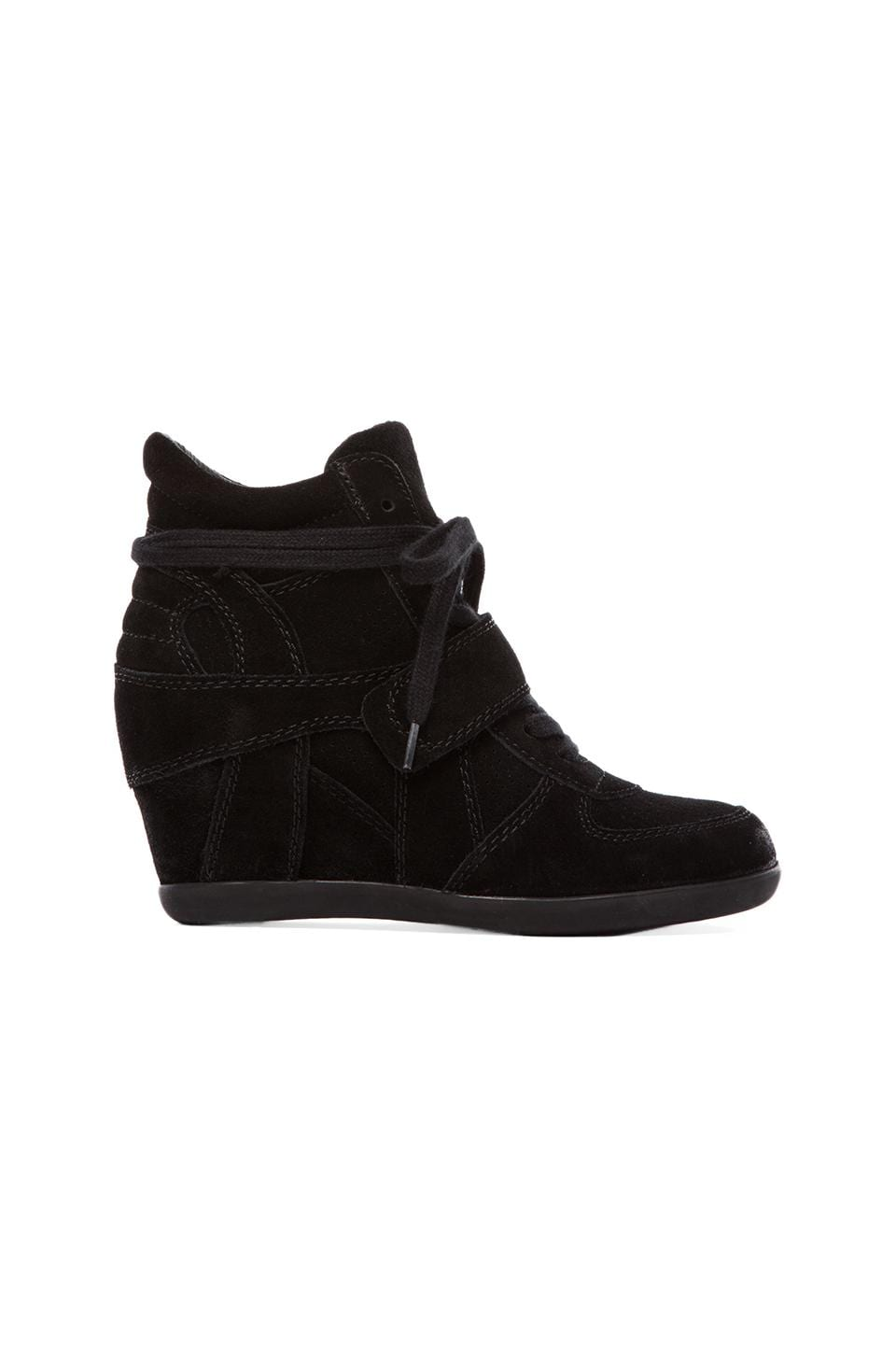 Ash Bowie Calf Suede Sneaker Wedge in Black