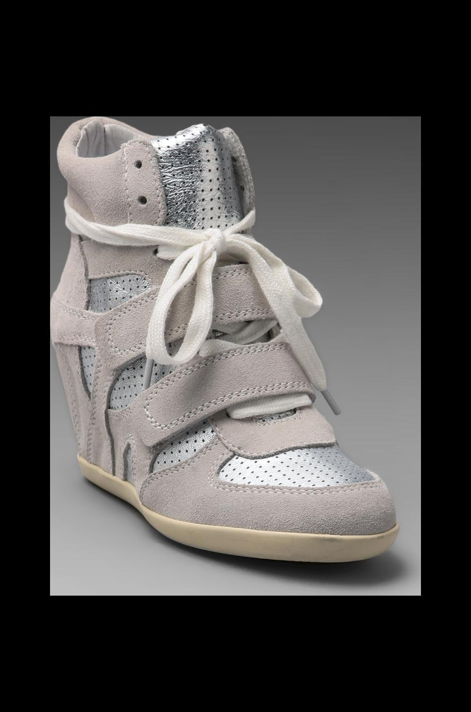 Ash Bea Wedge Sneaker in White/Silver