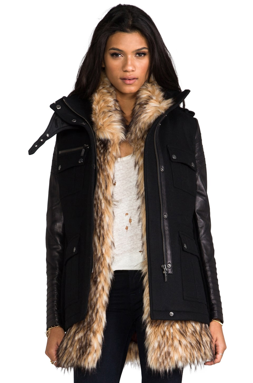 ashley B Leather Sleeved Military Jacket with Removable Faux Fur Vest in Black