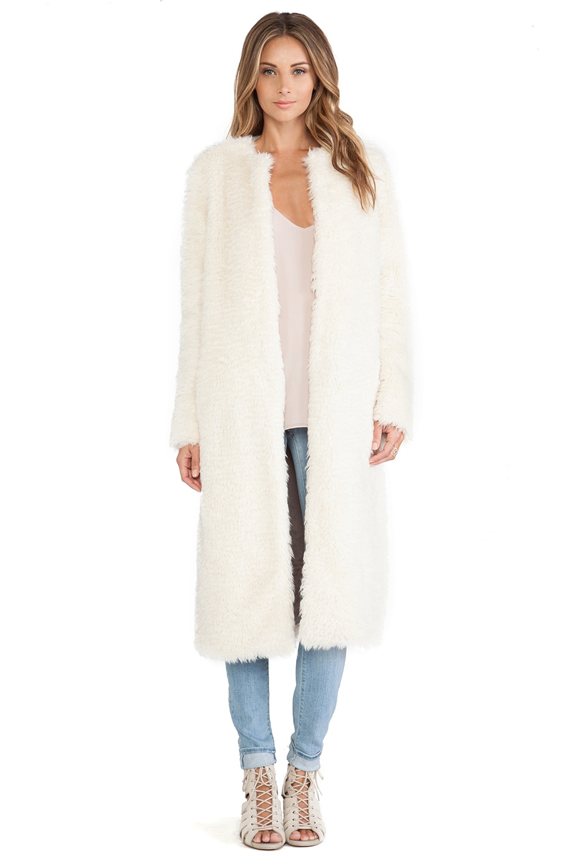ashley B Long Faux Fur Coat in Ivory | REVOLVE
