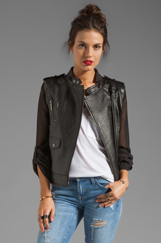 ashley B Sahara Leather and Chiffon Jacket in Black