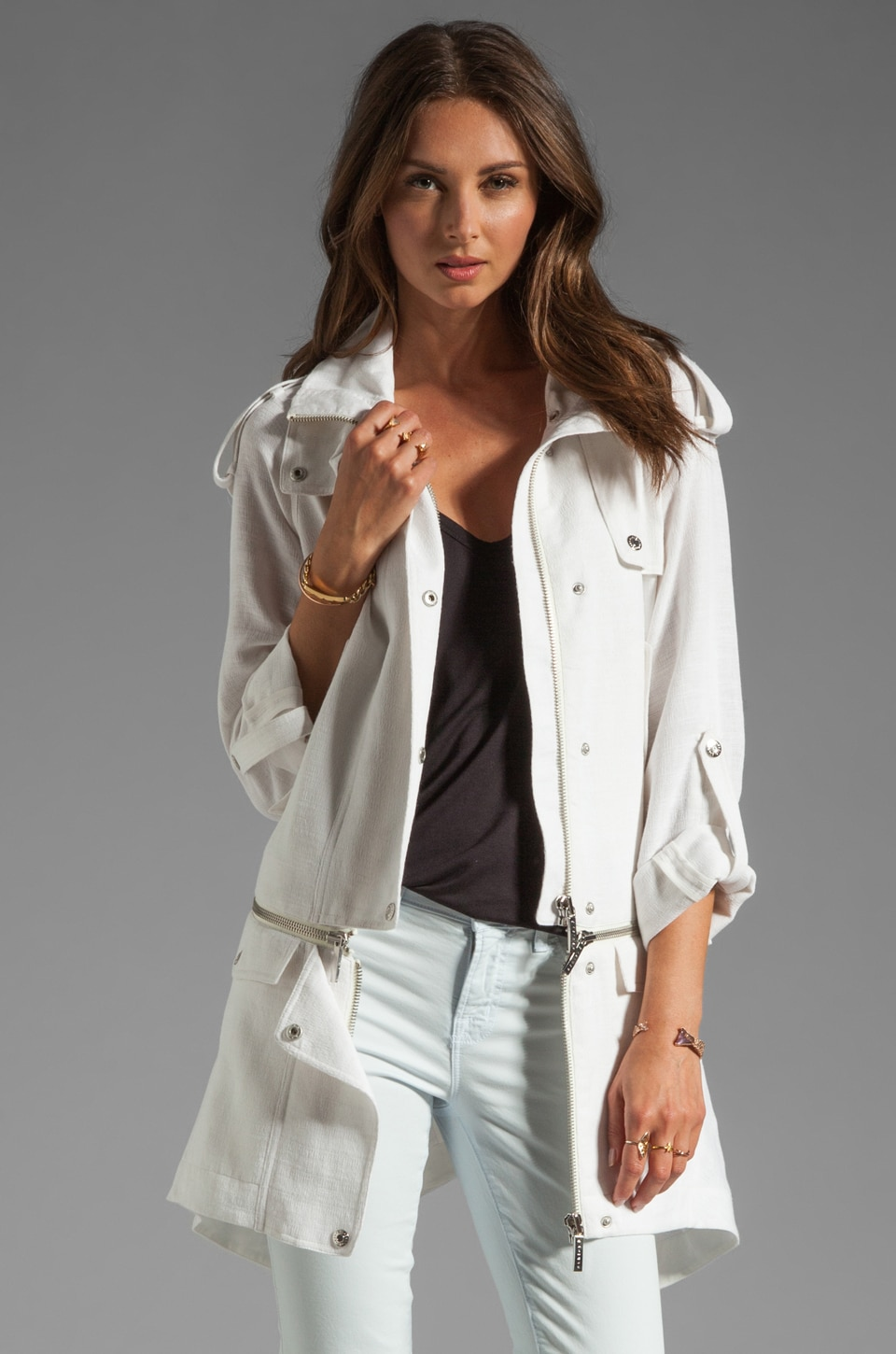 ashley B Zip Bottom Jacket in Off White