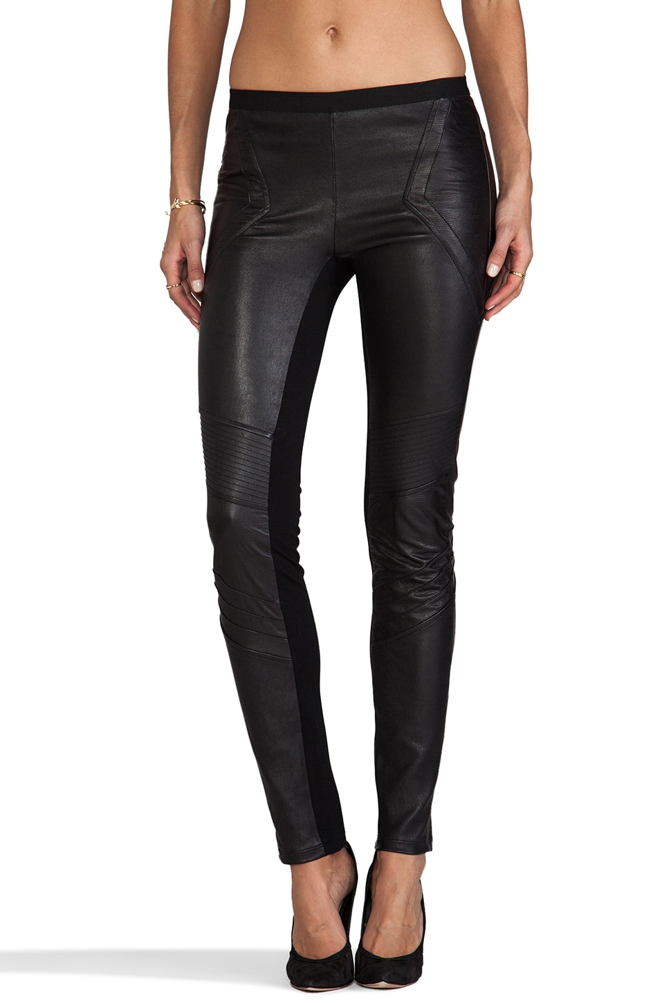 ashley B Leather Leggings in Black