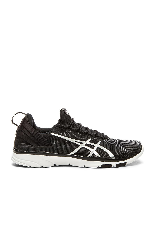 e00835c3 Asics Gel Fit Sana 2 Sneaker in Black, White & Silver | REVOLVE