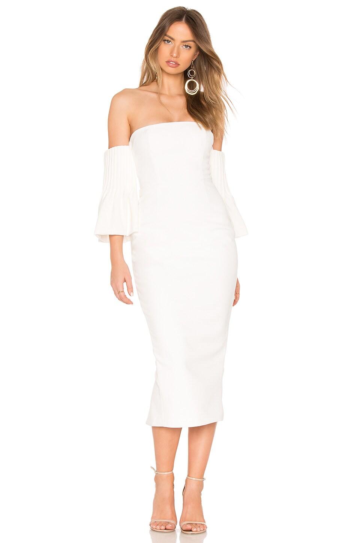 ASILIO Yolanda Off Shoulder Pintuck Dress in Ivory