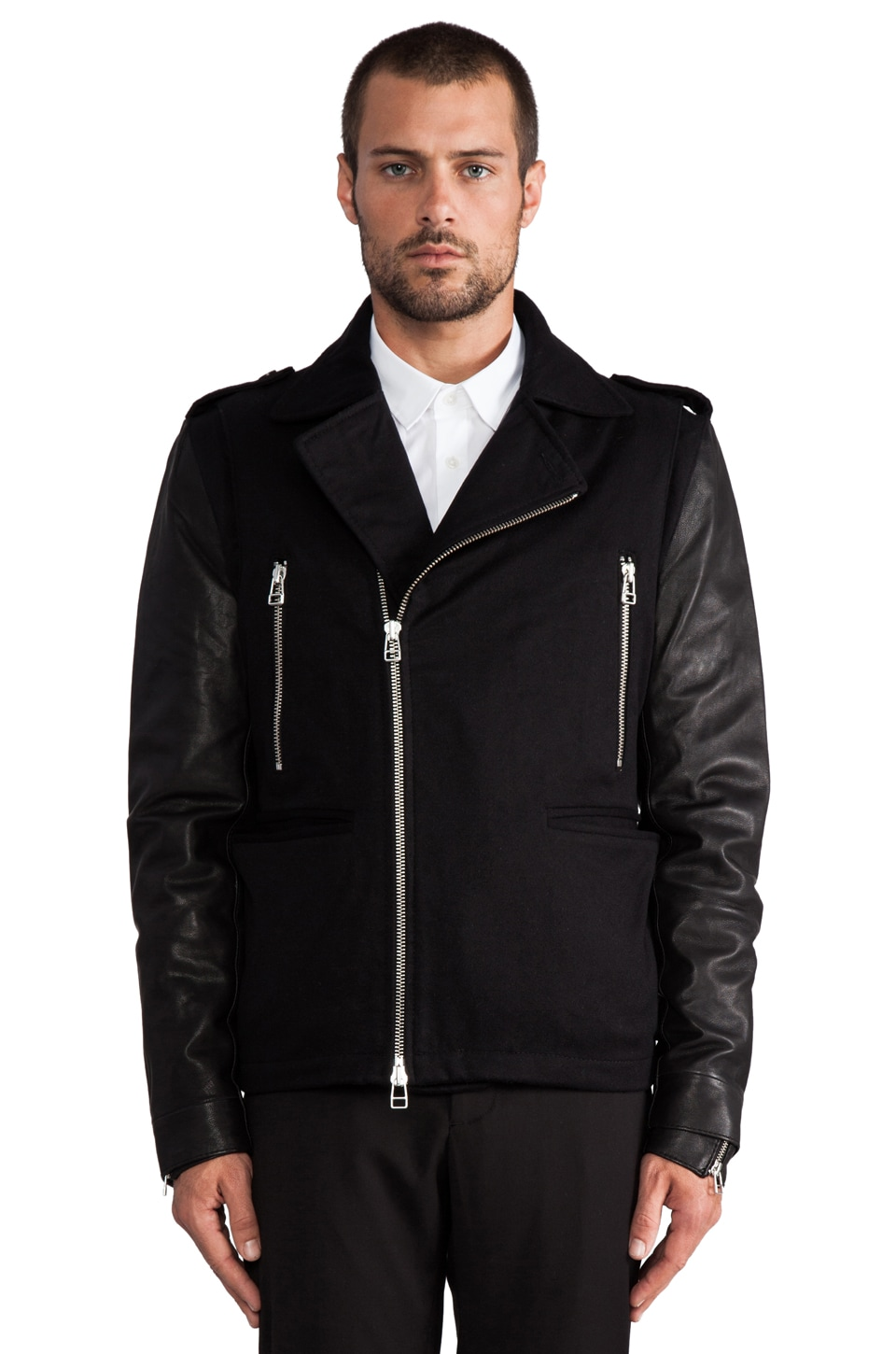 adidas SLVR Wool Leather Jacket in Black/Black