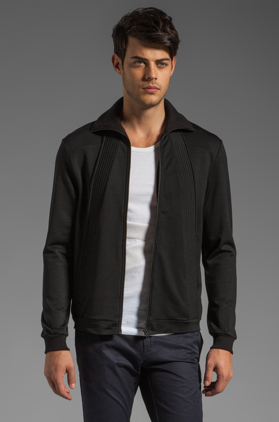adidas SLVR Track Zip Cardigan in Black