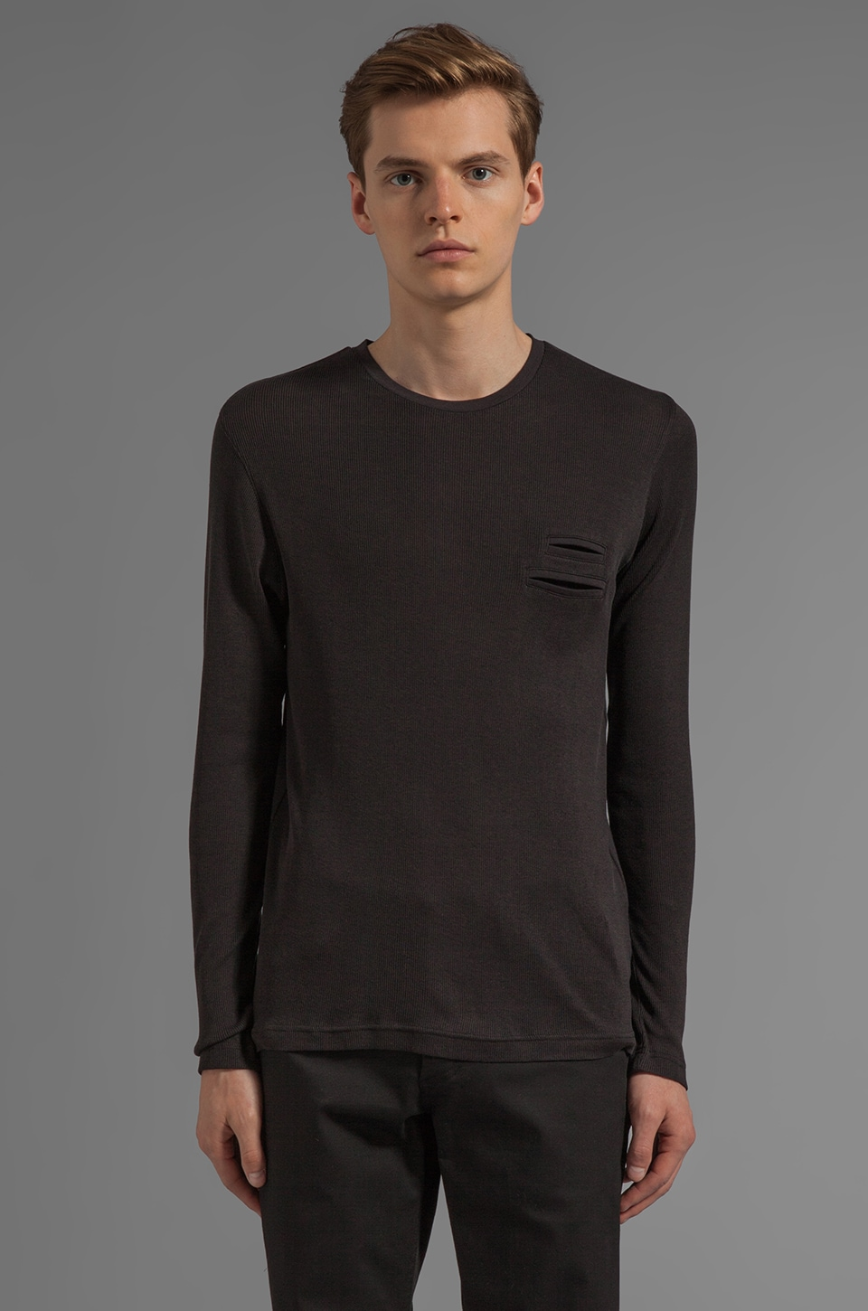 adidas SLVR Fabric Mix Long Sleeve Tee in Black