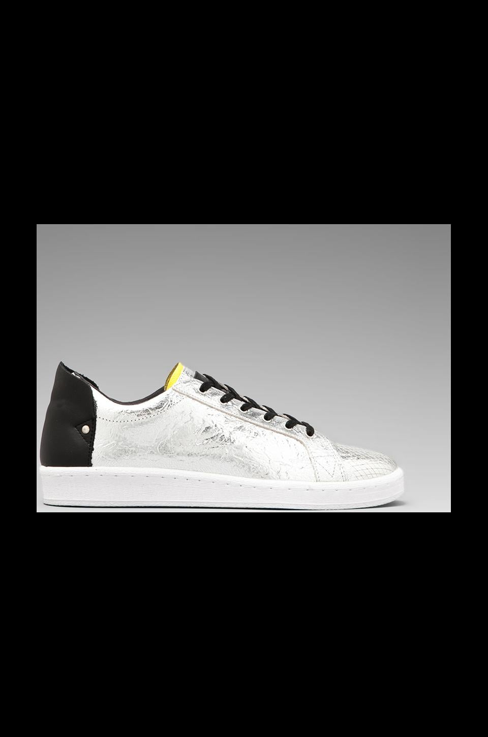 adidas SLVR Cupsole Lo Lace in Metallic Silver/White/Vivid Yellow