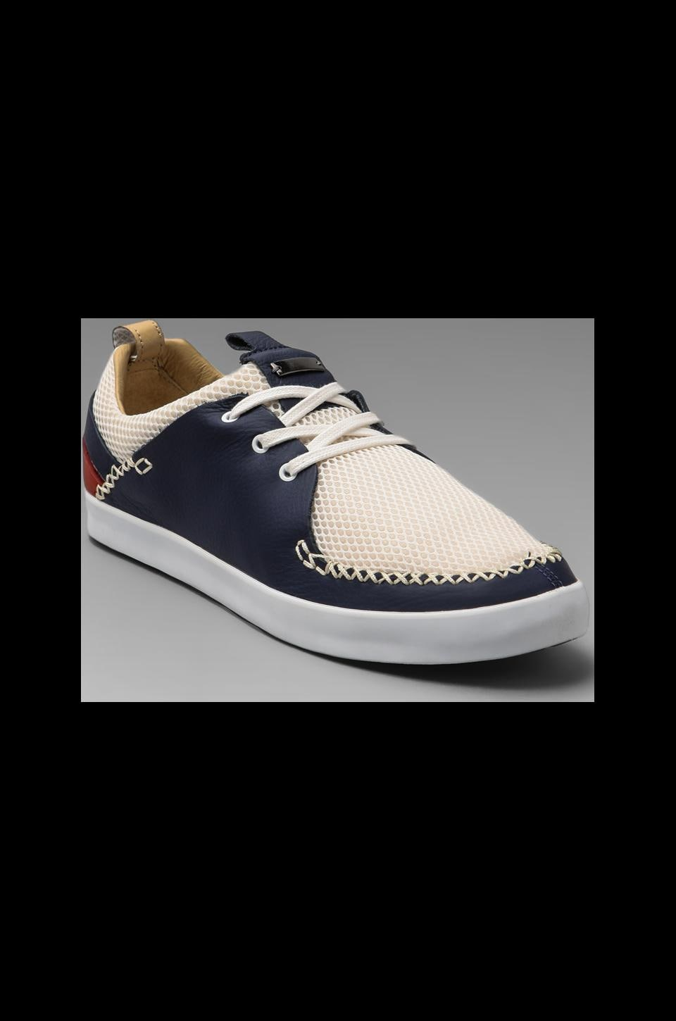adidas SLVR Beach Moccasins in White/Navy