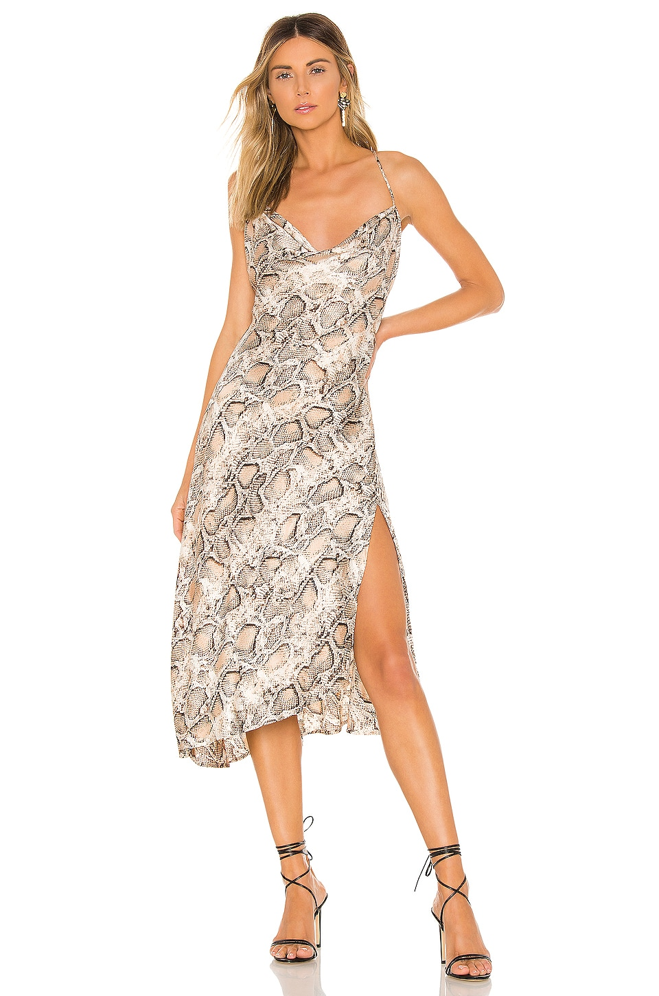 ASTR the Label Cowl Strappy Dress in Taupe Python