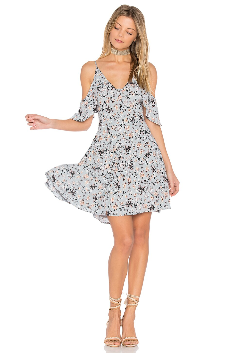 ASTR Gabriella Dress in Blue & Peach Floral
