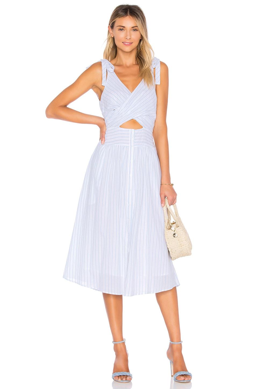 ASTR Nadine Dress in White Blue Stripe