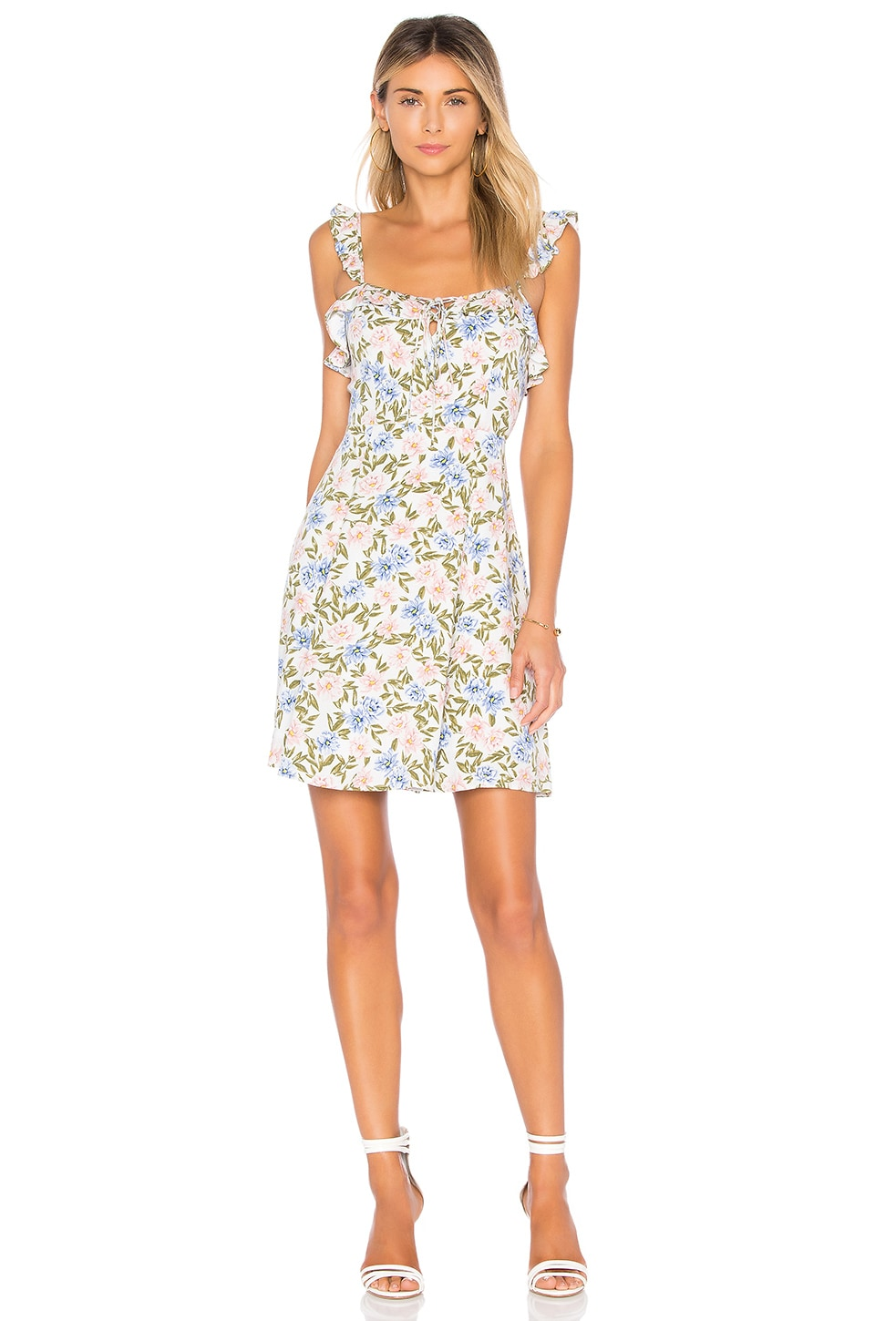 ASTR the Label Hannah Dress in Blue Pink Floral