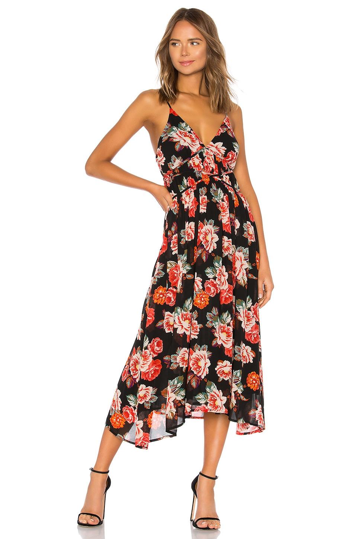 ASTR Marissa Floral-Print V-Neck Maxi Dress in Multi