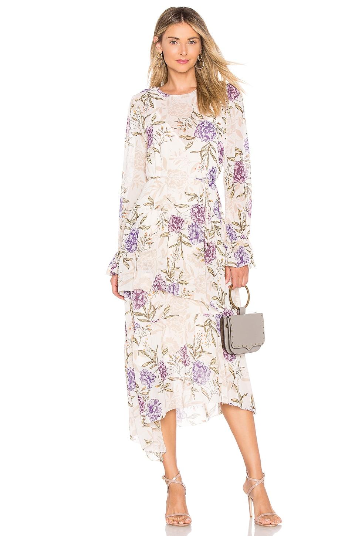 ASTR Mona Dress In Cream Lilac Floral in Beige