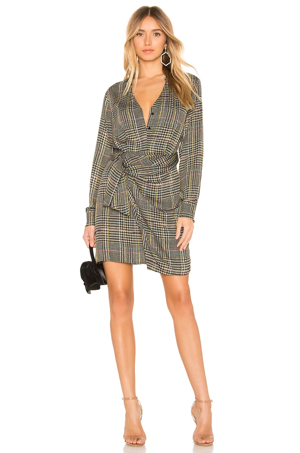 ASTR the Label Yuri Dress in Sage Multi Plaid