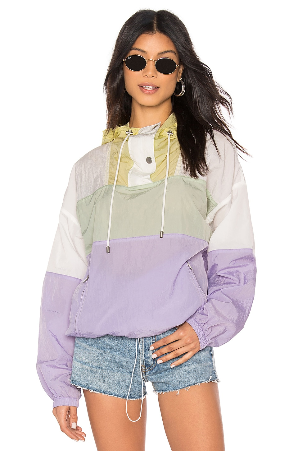 Astr Jackets ASTR THE LABEL SAWYER WINDBREAKER JACKET IN LAVENDER.