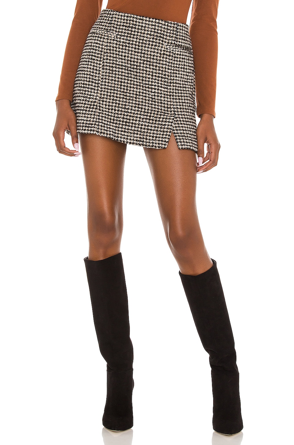 ASTR the Label Christa Skirt in Black & Brown Houndstooth