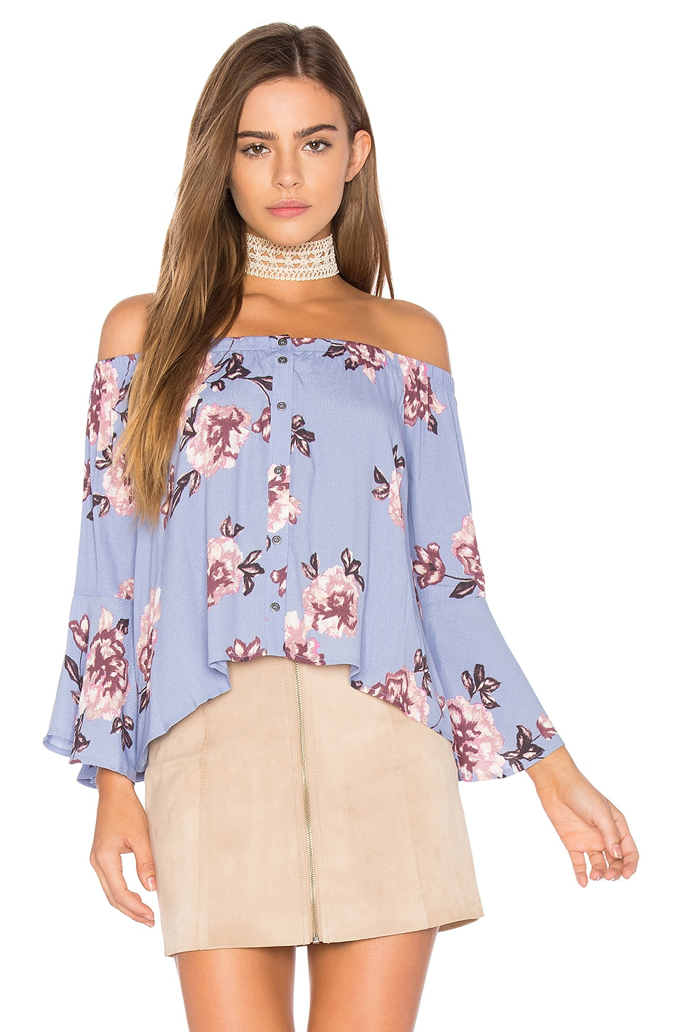 ASTR the Label Amelia Top in Periwinkle Floral