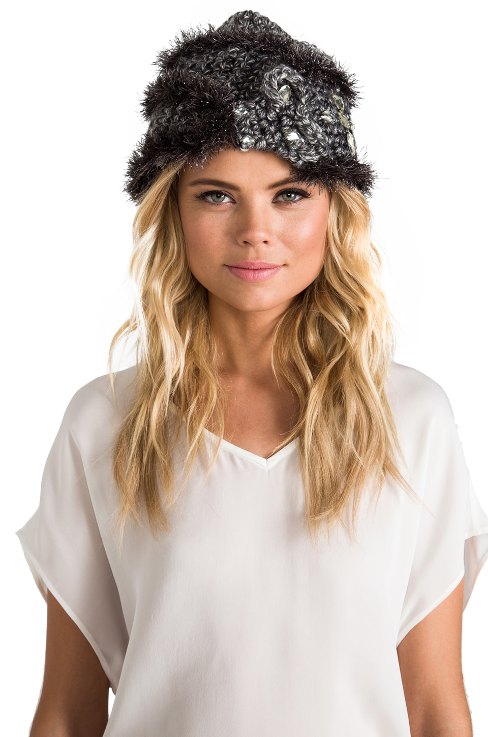 Anna Sui Jeweled Animal Accessories Hat in Grey Metallic